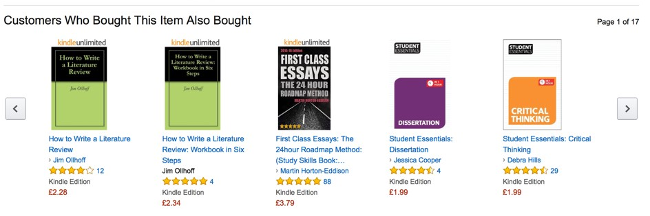 Figure 4 - 'Customers Who Bought This Item Also Bought' Amazon.co.uk display for the first eTIPS eTextbook