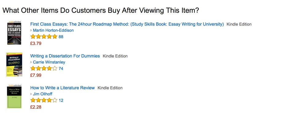 Figure 5 - What Other Items Do Customers Buy After Viewing This Item? Amazon.co.uk display for the first eTIPS eTextbook